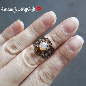 Antique Opal Ring Midi Ring Adjustable